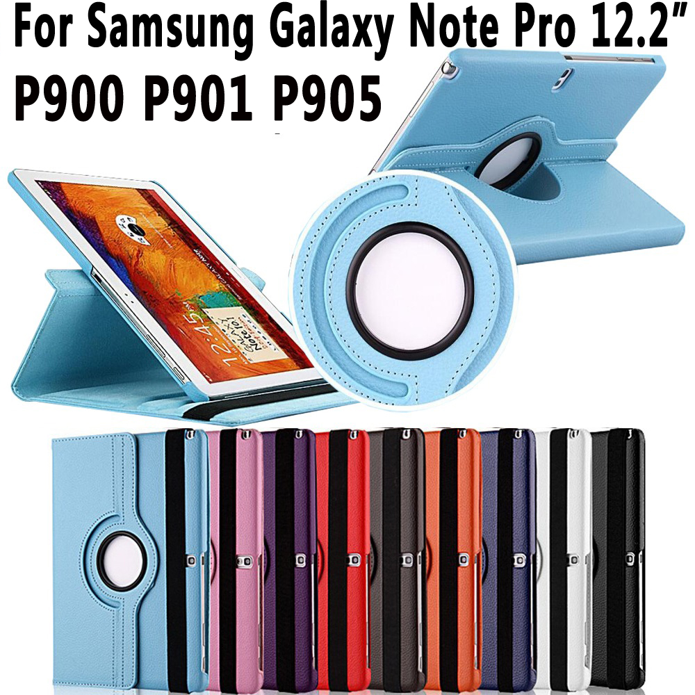 360 Degree Rotating Smart Case Cover for Samsung Galaxy Note Pro 12.2 inch P900 P901 P905 Coque Capa Funda with Stand Holder official original metal keyboard station wireless blutooth stand case cover for samsung galaxy note pro 12 2 p900 p901 p905 t900
