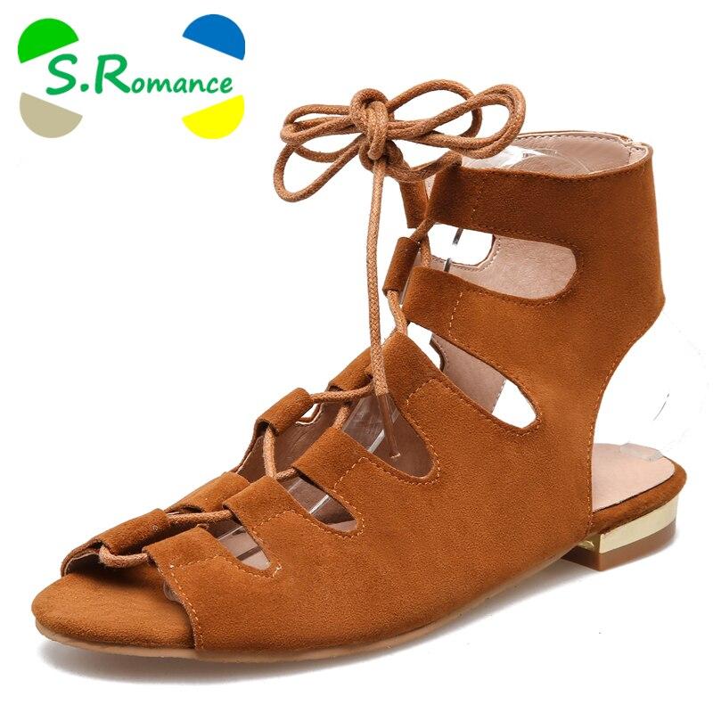 S. โรแมนติก Plus ขนาด 34 43 New แฟชั่นผู้หญิงรองเท้าแตะ Gladiator รองเท้า Lace   Up ส้นรองเท้าผู้หญิงสีดำสีกากีสีเหลือง SS586-ใน รองเท้าแตะสตรี จาก รองเท้า บน   1