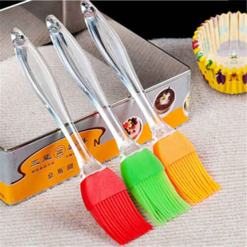 US 1PCS Tool Butter BBQ Food Grade Pastry  Oil Cream Cooking Silicone Cleaner Easily Sweep Brush Baking Silicone Brushes Tool