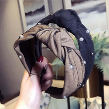Fashion Pearl Hairband For Women Lace Cloth Patchwork Hair Accessories Wholesale Fresh Women Hair Hoop Stripe stylish beads lace hairband for women