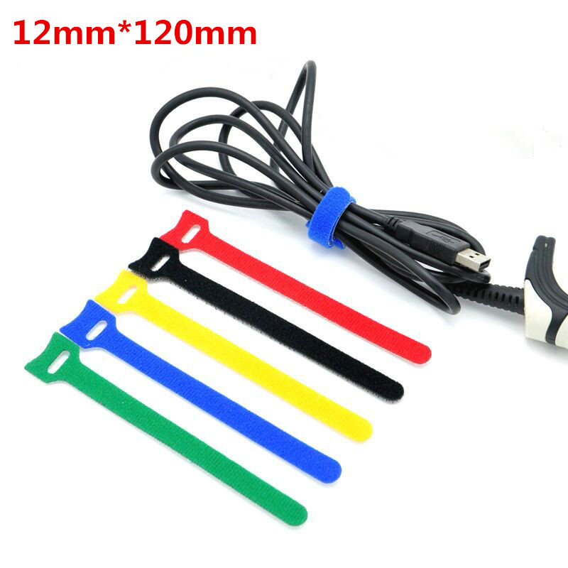plastic locking wire harness for strap 10pcs 12x120mm reusable hooks and loops cable ties wiring  10pcs 12x120mm reusable hooks and loops cable ties wiring