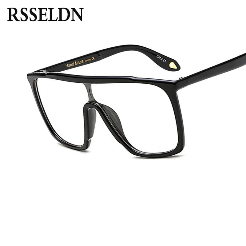 RSSELDN Fashion Oversized Glasses Square Black clear Lens designer ...