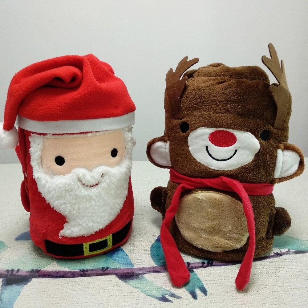 Santa deer soft throw blanket coral fleece blanket cartoon blankets for beds sofa decorative blanket new year Christmas gift