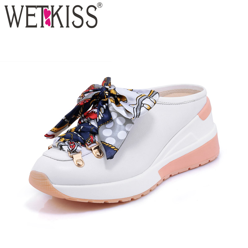 WETKISS Cow Leather Casual Ladies Pumps High Heels Round Toe Cross Bndage Wedges Footwear Summer Platform Fashion Mules Shoes kemekiss size 33 42 women s high heel wedge shoes women cross strap platform pumps round toe casual mixed color ladies footwear