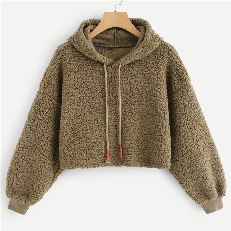 Brown Drawstring Solid New Style Hoodie For Women