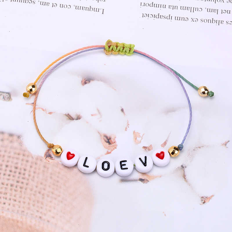 Freundschaft Armbänder für Kinder Frauen Männer Paar String Geflochtene DIY Einstellbare Seil Glück Armband Brief Liebe Charme Schmuck