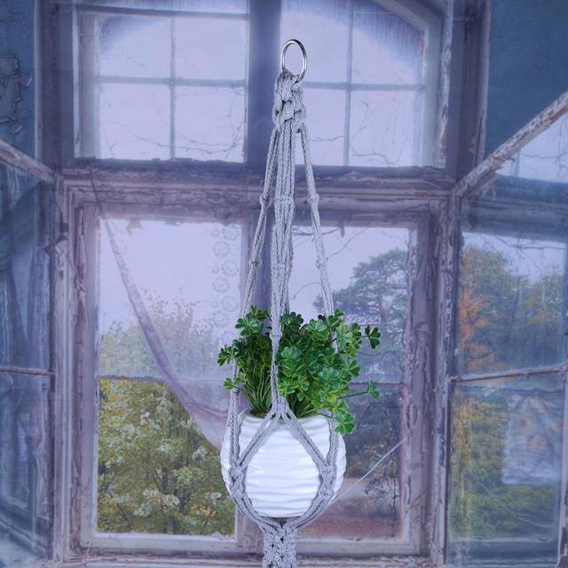 Gray Vintage Knotted Macrame Plant Hanger Basket Green Flowerpot Macrame Lifting Rope Plant Hanger Pot Holder Garden Hanging