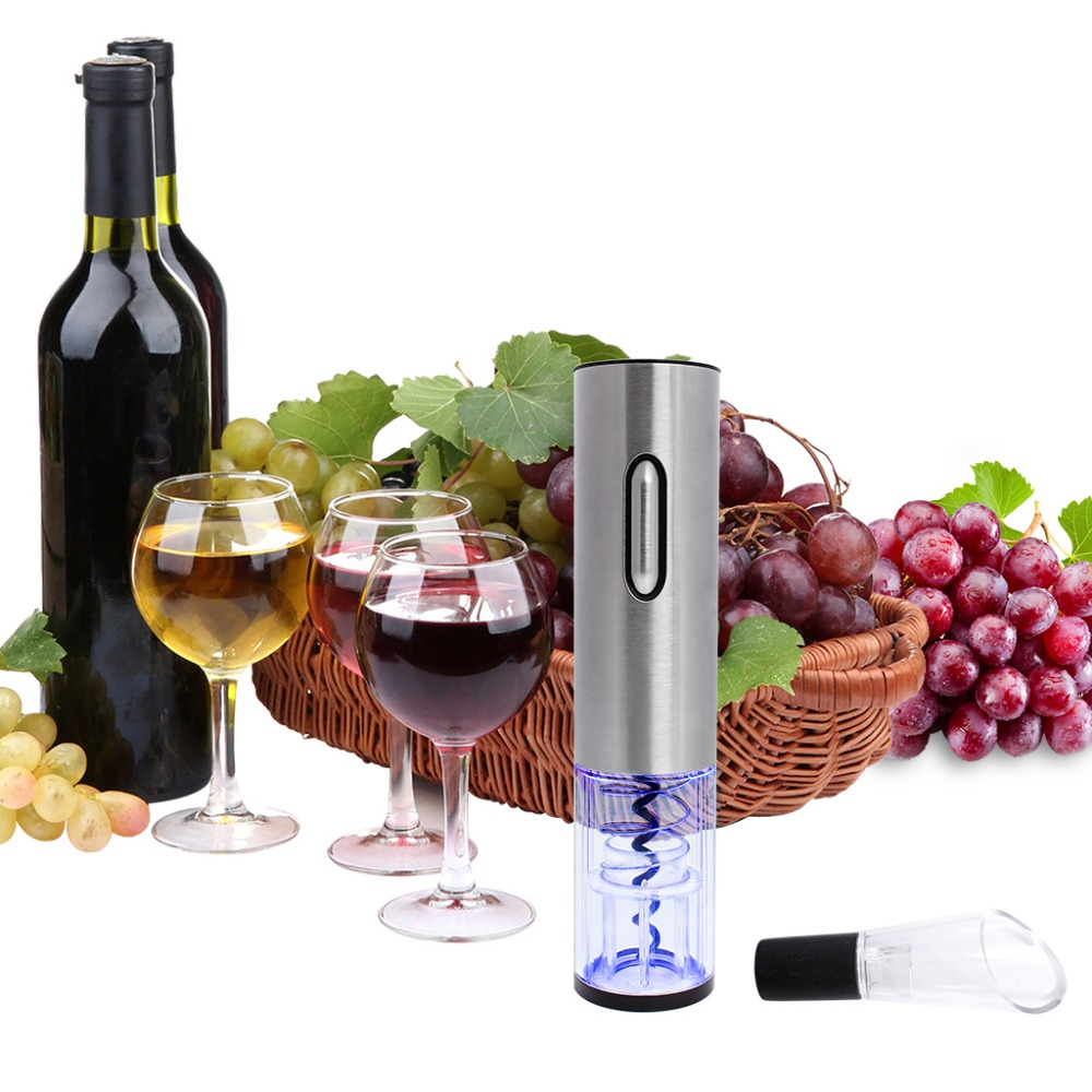 Stainless Steel Electric Bottle Opener USB Rechargeable Electric Bottle Opener Five-Piece Wine Accessories Gift Set with Foil Cutter Vacuum Stopper Wine Pourer (8)