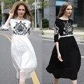 Con La Correa! 2016 estilo de la pista nueva negro blanco vintage retro bordado floral dress mujer ropa de trabajo elegante agraciado vestidos ns254