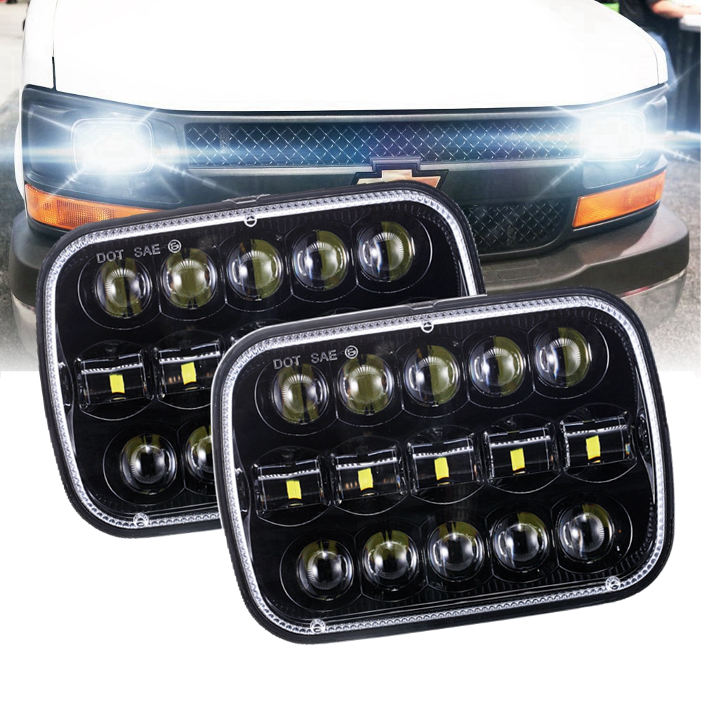 2PCS Rectangular 5x7Inch 95W H4 LED Square Headlight For Toyota Nissan 240SX Truck 5x7 Projector Rectangular led head light 1 pair 7 inch rectangular led headlight