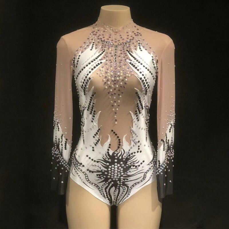 Wholesale Rhythmic Gymnastics Leotard Stage Costumes Jumpsuit For Women Luminous Costume Female Singer Nightclub Bodysuit DJ267