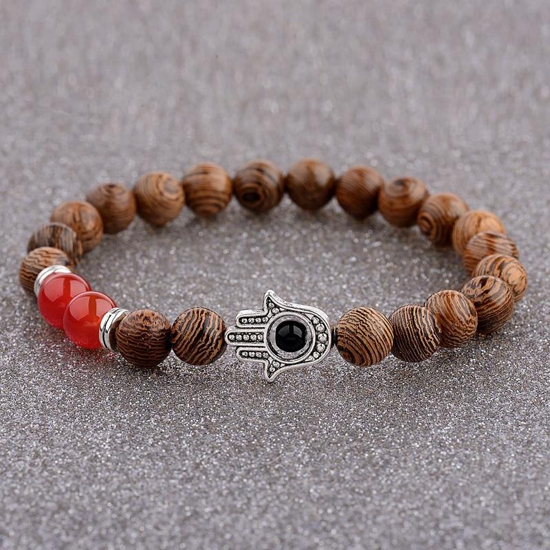 Image 2 - 2020 Ethnic Women 8mm Brown Wood Beads Bracelets Silver