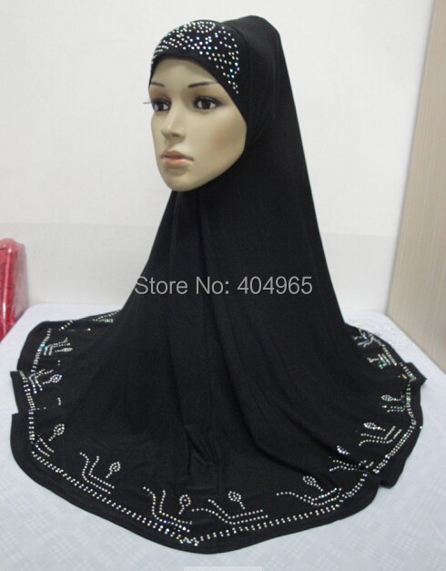 H813c latest big size muslim rhinestone hijab,fast delivery,assorted colors