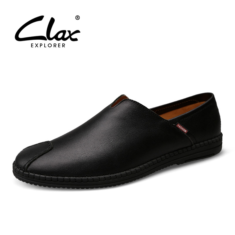 CLAX Men's Leather Shoe Black 2017 Summer Autumn Casual Loafers for Male Genuine Leather Flat Footwear Slip on Leisure Shoe Soft clax men summer shoes slip on 2017 breathable male flats loafers fisherman shoe casual white boat footwear leather sandals