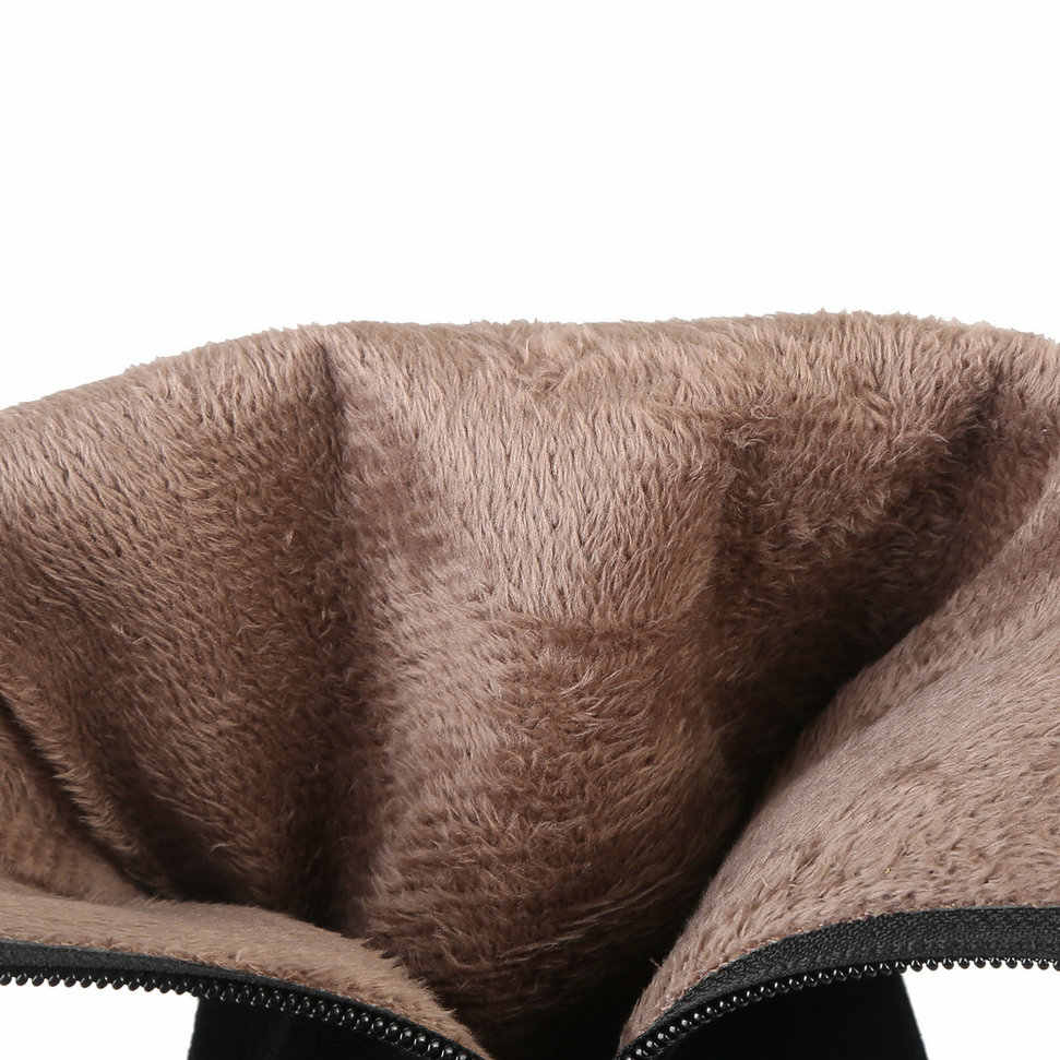 ผู้หญิง FLOCK หิมะรองเท้าสแควร์รองเท้าส้นสูงเข่าสูงรองเท้าบูทซิปชี้ TOW ฤดูหนาว WARM Plush รองเท้าผู้หญิง Beige สีเขียวสีดำ
