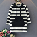 2016 Autumn New Girls Clothes Toddler Baby Long Sleeve Striped Big Pocket Hooded Pullover Casual Kids Hoodies Girls Sweatshirts
