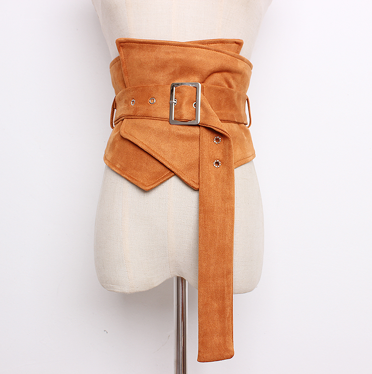 Women's Runway Fashion Faux Suede Leather Cummerbunds Female Vintage Dress Corsets Waistband Belts Decoration Wide Belt R1267