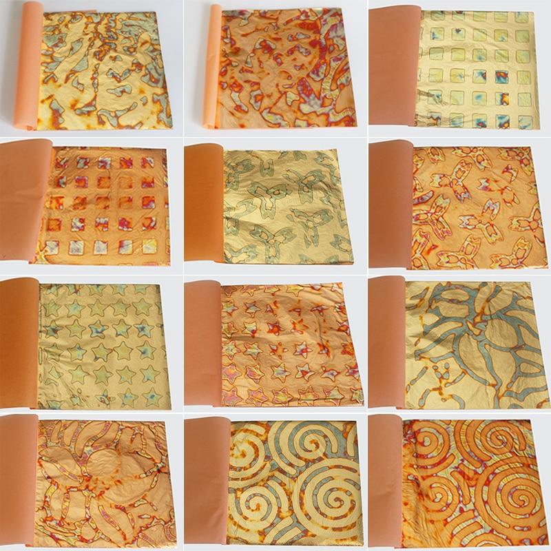 25 Pcs/booklet Colorful Imitation Gold Leaves, 14X14cm, Gold Foil Copper Leaf , Mottled Leaves, Gilding Paper ,12 Types