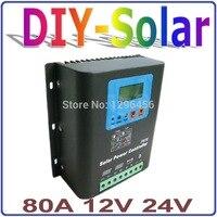 12 В/24 В Батарея Зарядное устройство регулятор для 1000 2000 Вт солнечных панелей ЖК дисплей Дисплей зарядки от сетки контроллер заряда 80A систем