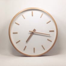 Beech Frame Bell Wooden Wall Clock Bedroom Living Room Creative Simple Silence Quartz Clock
