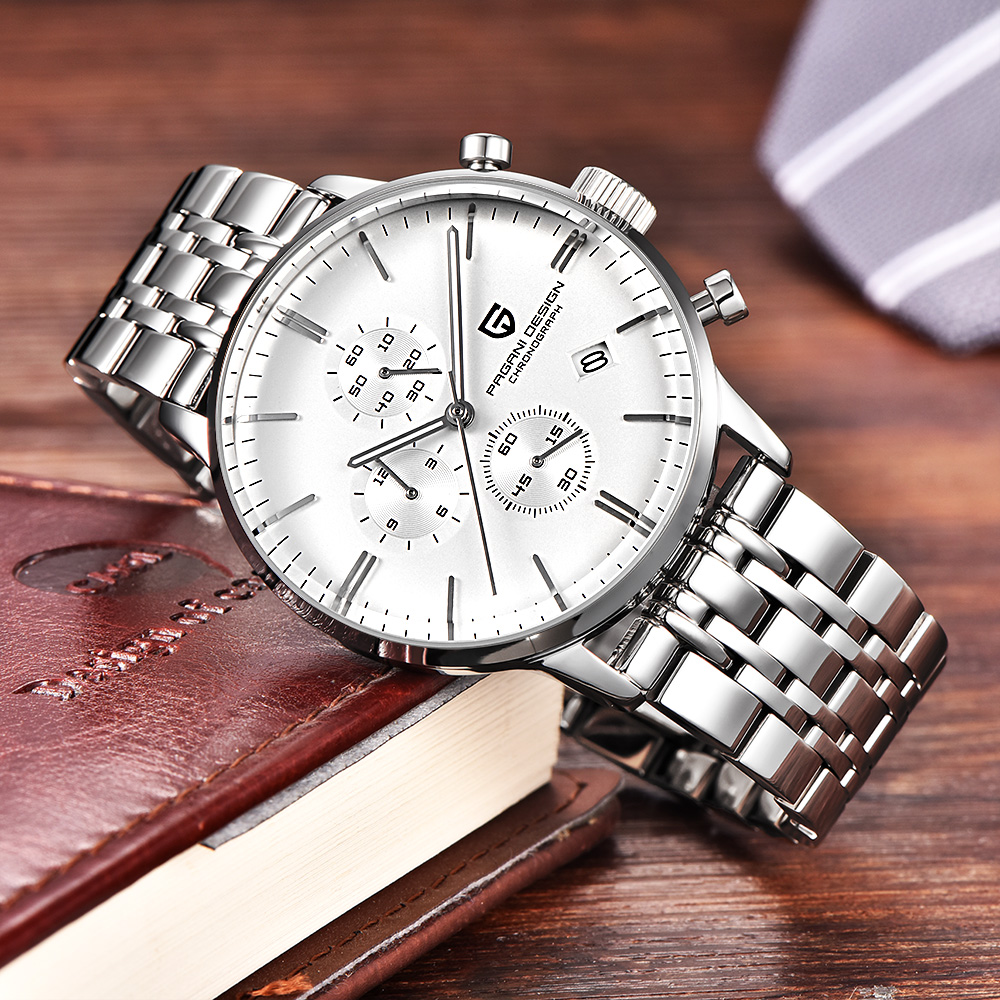 PAGANI DESIGN Business Steel Strap Quartz Watch Men Waterproof Mens Watches Top Brand Luxury Chronograph Clock relogio masculino pagani design mens watches top brand luxury tungsten steel business quartz wrist watch calendar clock men saat relogio masculino