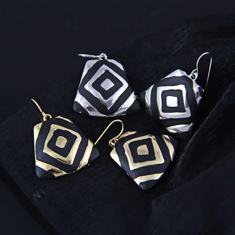 Shineland Fashion Gold/Silver Color 2019 New Women Accessories Black Enamel Statement GeometricDrop Earrings pendientes mujer