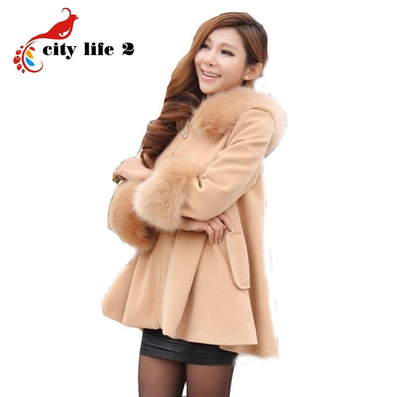 Fur Collar Woolen Coat Hooded Female Medium-Long Overcoat Autumn Capes And Ponchos Abrigos Mujer Women Coat