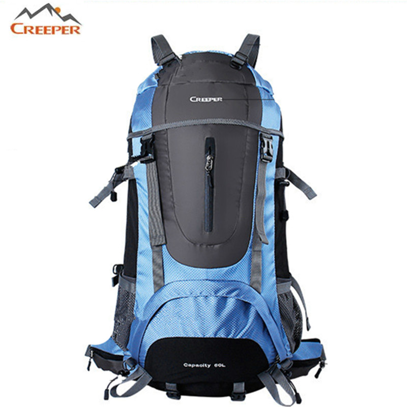 ФОТО Brand Hot Sale Men's woman Waterproof Nylon Backpack Camping on foot Travel Mountaineering Zipper Man Backpack drop shipping 60L