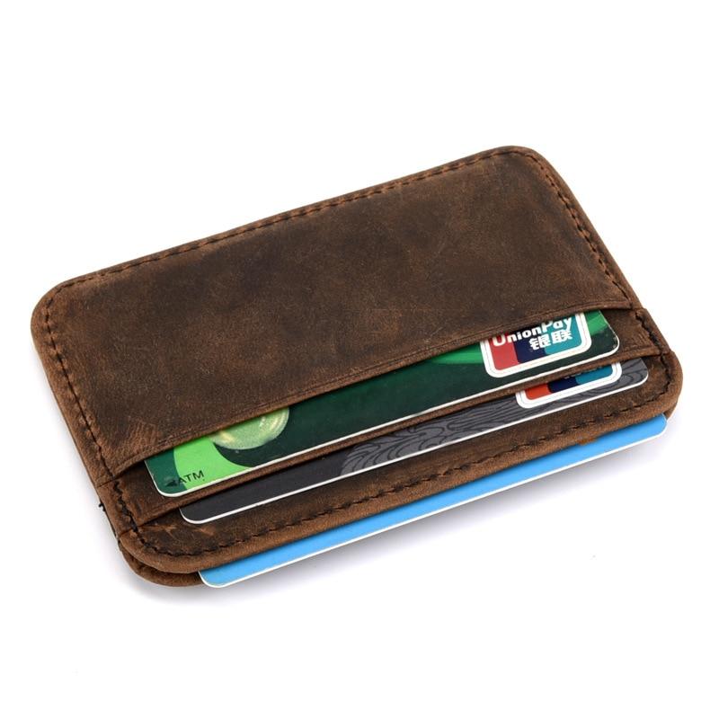 Hot sale Genuine Leather Thin Card Case Mens Front Pocket Card Holder Purse Slim Wallet Men Mini Coin pocket