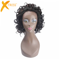 Short Curly Lace Front Synthetic Hair Bob Wigs For Women X TRESS Ombre Brown Color Heat Resistant Fiber Hair Lace Wig Free Part