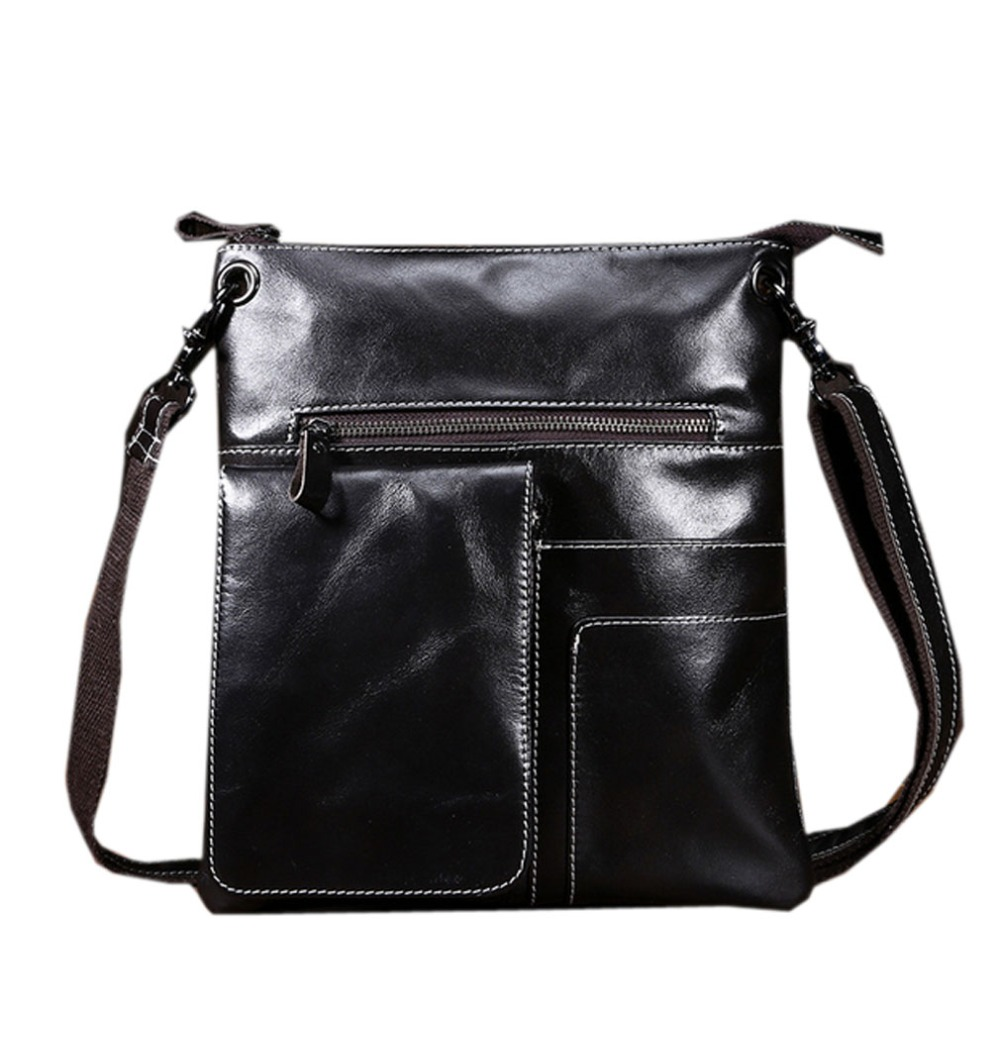 New Fashion Men Oil wax Genuine Leather First Layer Cowhide Travel Messenger Shoulder bag Business Briefcase Bag slow head layer cowhide handbag retro oil wax bag leather bag travel bag