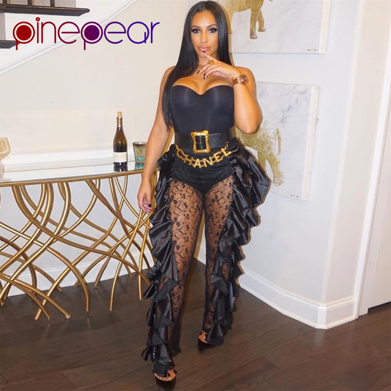 PinePear Ruffle Sexy Lace   Jumpsuit   Women 2019 Winter High Fashion Spaghetti Strap See Through Full Length Romper Drop Shipping