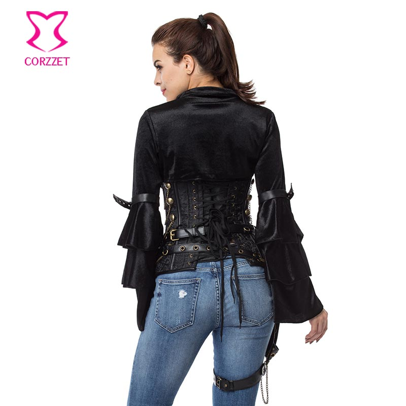 6d43dff8b3cd4 Black Brocade Steampunk Corset Halloween Bustier Tops Gothic Clothing Plus  Size Corsets And Bustiers Punk Korsett For Women Sexy-in Bustiers   Corsets  from ...