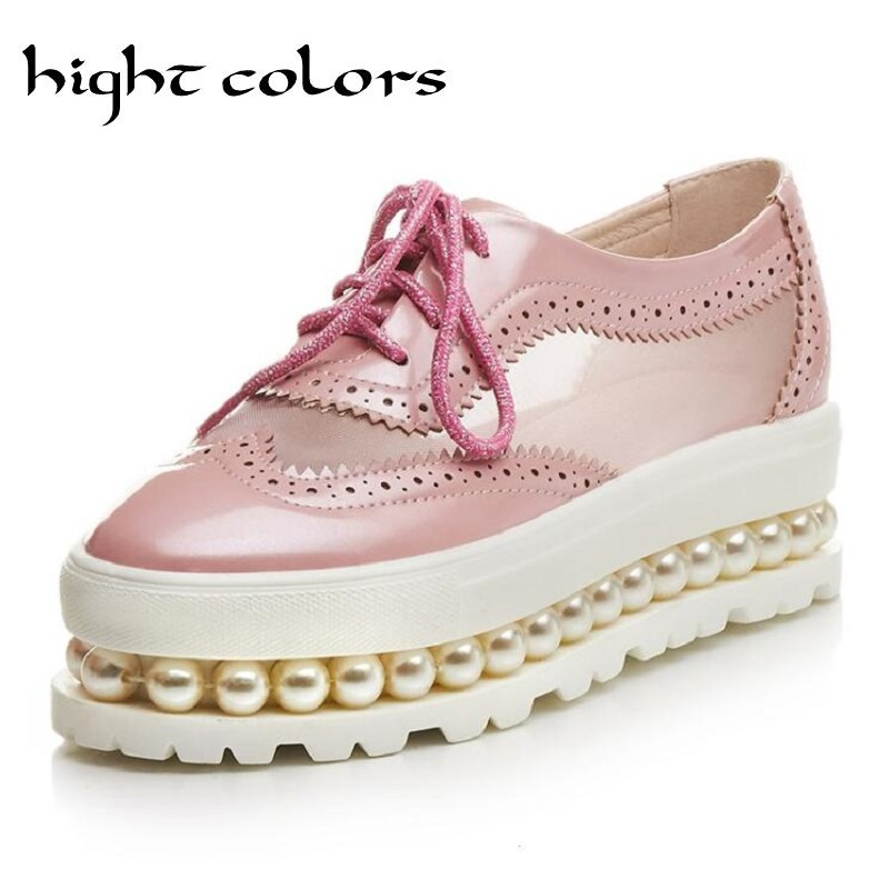 Summer Style Fashion Cut Outs Breathable Lace Up Pearl Platform Shoes Woman Casual Creepers Pink High Heels Women Pumps US 10.5 retro embroidery women wedges sandals summer style platform shoes woman casual thick high heels creepers slippers plus size 9