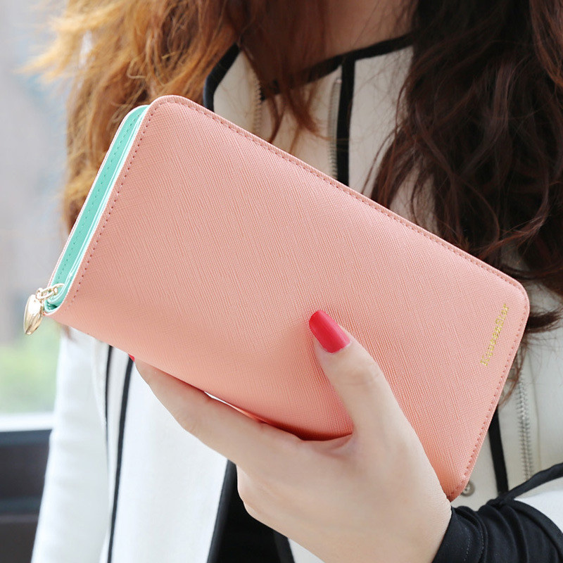 2017 Hot Fashion 7 Colors PU Leather Long Wallets Women Brand Solid Clutch Portable Casual Lady Cash Purse Card Holder Gift 2016 hot fashion women wallets double zipper bag solid pu leather men long coin purse brand clutch lady cash hold phone card