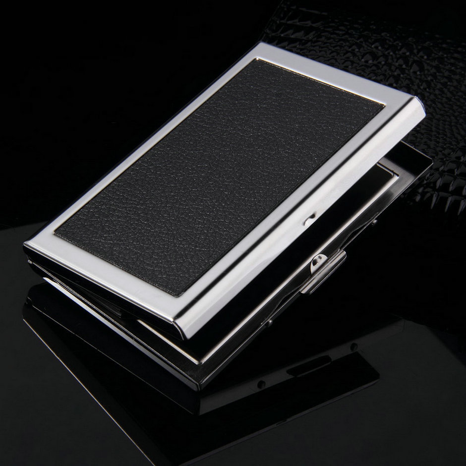 High Quality Business Card Case Waterproof Aluminum ID Credit Card Holder Pocket Case Box Mini Wallet Easy to Carry multicolor waterproof aluminum business id credit card stocks metal pocket mini case cards holder pocket wallet holder black