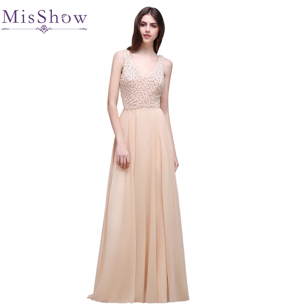 US size 6 -12 in stock Long Evening Dresses with Pearl double V neck Chiffon Champagne Evening Formal Party Dress Prom Gown 2018