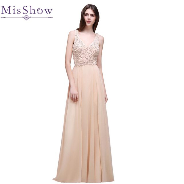 US size 6 12 in stock Long Evening Dresses with Pearl double V neck ...