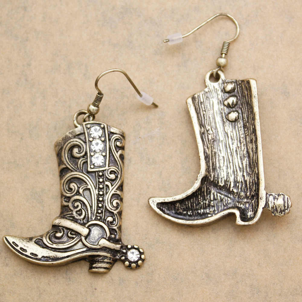 Sterling Silver Cowgirl Boots with Spurs Earrings            297