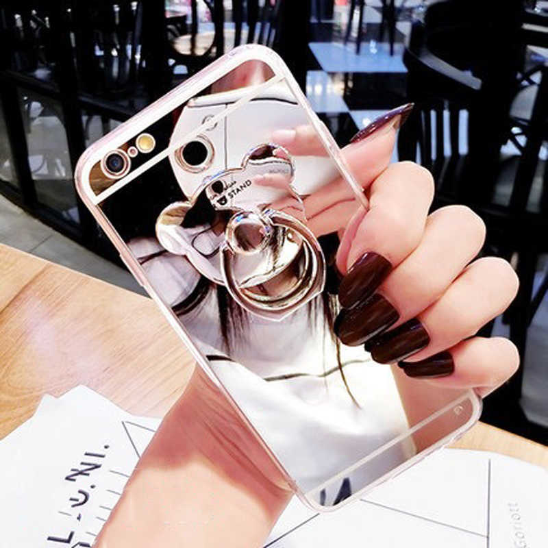 Metal Small Bear Finger Ring Holder Glitter Mirror Case For iPhone 8 7 6 6S Plus 5 SE 5S XR XS MAX Back Cover Case Shell