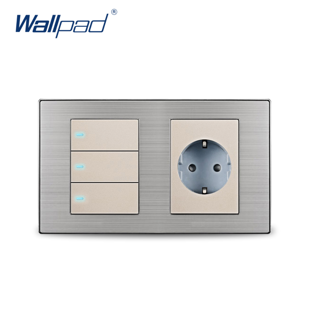 2 Way Switch And Socket Wallpad Black Glass Panel Schuko Eu Wall For Light Power With Claws