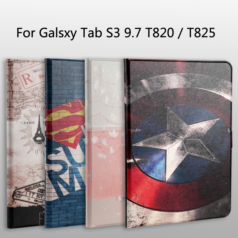 Fashion painted Pu leather stand holder Cover Case For Samsung Galaxy Tab S3 T820 T825 9.7 inch Tablet + Film + Stylus pu leather case cover for samsung galaxy tab 3 10 1 p5200 p5210 p5220 tablet
