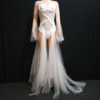 2020 Women New White Crystals See-through Bodysuit Sexy Perspective Trailing Party Celebration Singer Stage Costumes