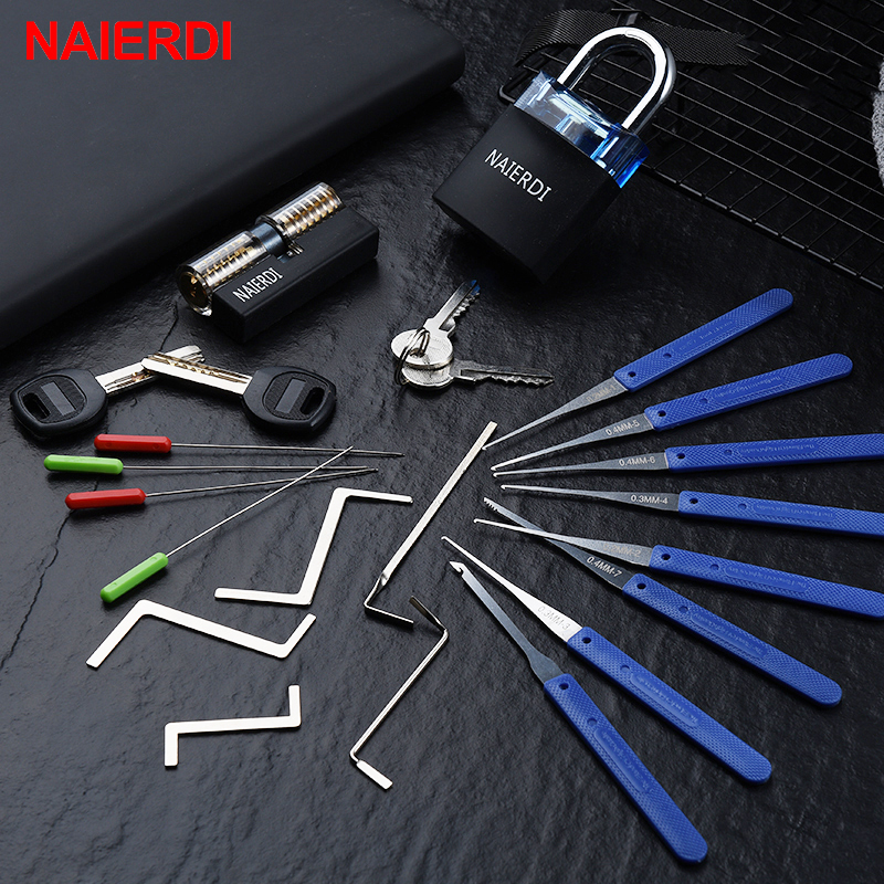 NAIERDI Locksmith Hand Tools Supplies Lock Pick Set Transparent Visible Practice Padlock With Broken Key Removing Hooks Hardware image