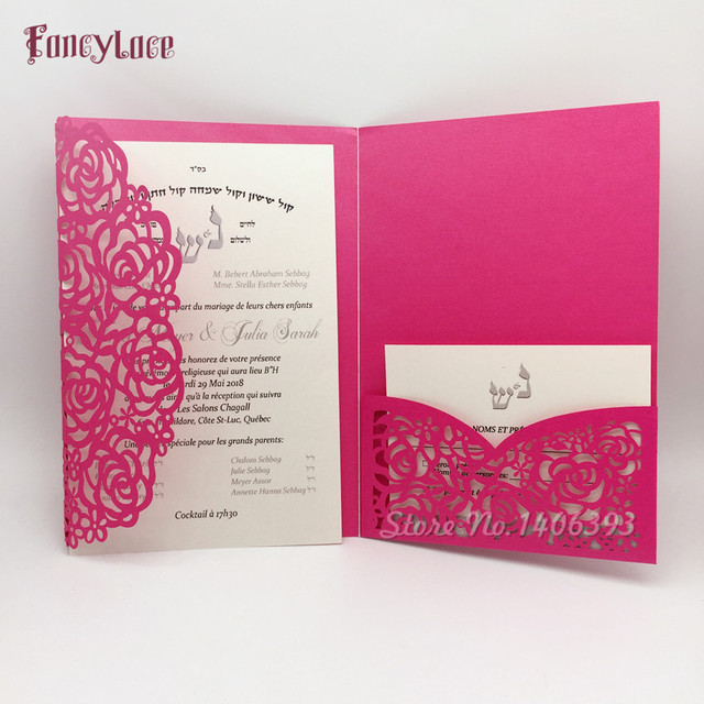 30pcs 2018 Laser Cut Lace Flower Pocket Wedding Invitations Card