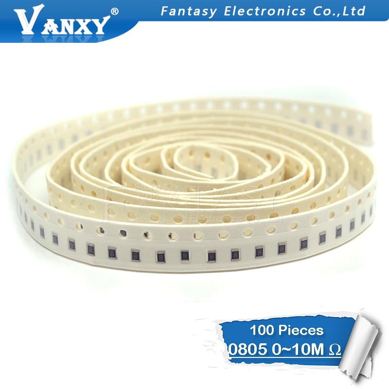 100Pcs 0805 SMD 1/8W Chip Resistor 0R ~ 10M 0 10R 100R 220R 330R 470R 1K 4.7K 10K 47K 100K 0 10 100 330 470 Ohm