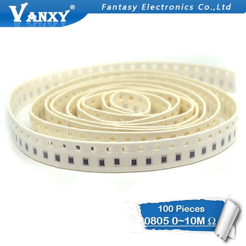 100Pcs 0805 SMD 1/8W chip resistor 0R ~ 10M 0 10R 100R 220R 330R 470R 47 10 1K 4.7K K K 100K 0 10 100 330 470 ohm