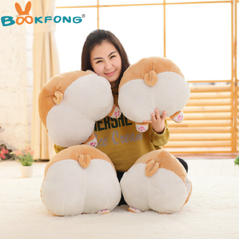 BOOKFONG Cartoon Corgi Sexy Hip Plush Pillow Buttocks Cushion Soft Stuffed Animal Doll Kids Toy 38*36cm shoulder cut plus size flower blouse