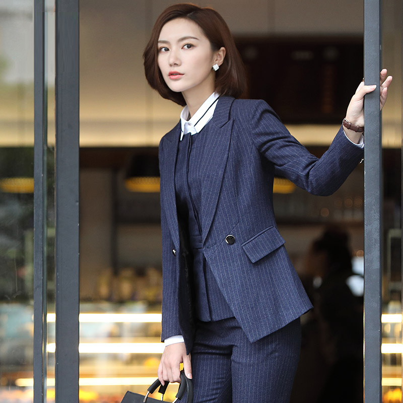 Professional Wear Ladies Suit 2019 New High Quality Fabric Slim Long Sleeve Striped Suit Jacket Overalls Female Interview Set
