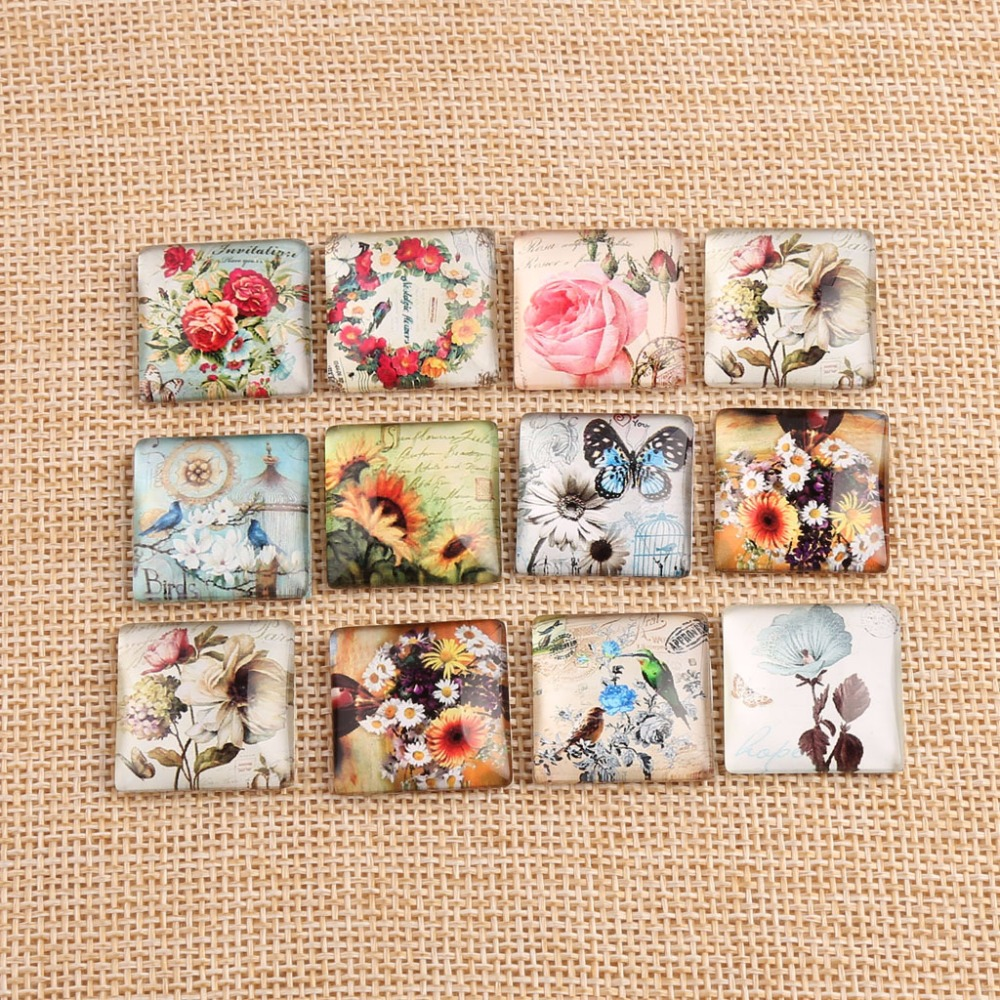 onwear 20pcs 20mm square glass cabochon handmade diy mix flower bird butterfly photo cabochons for pendant earrings novelty flower bird embellished square shape pillowcase